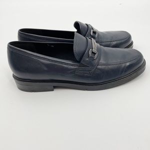 Cloudwalkers Navy Leather Loafers Shoes Horsebit Metal Accent 8 Brazil